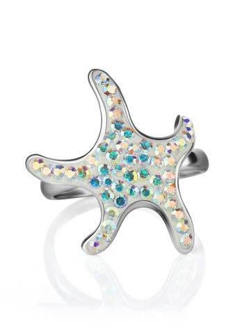 Silver Starfish Ring With Chameleon Crystals The Jungle, Ring Size: 6.5 / 17, image , picture 4