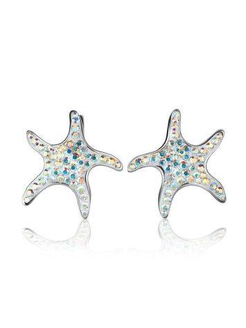 Silver Starfish Earrings With Chameleon Crystals The Jungle, image , picture 4