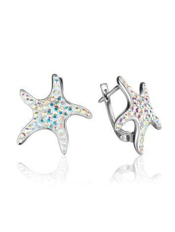 Silver Starfish Earrings With Chameleon Crystals The Jungle, image