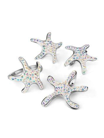 Silver Starfish Ring With Chameleon Crystals The Jungle, Ring Size: 6.5 / 17, image , picture 5