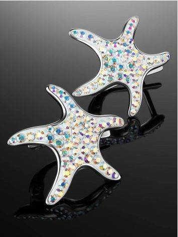 Silver Starfish Earrings With Chameleon Crystals The Jungle, image , picture 2