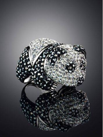 Silver Panda Ring With Black And White Crystals The Jungle, Ring Size: 8 / 18, image , picture 2