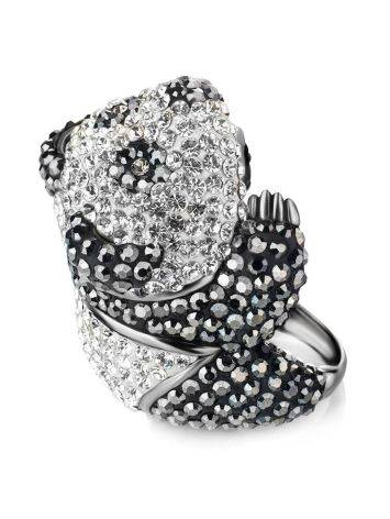 Silver Panda Ring With Black And White Crystals The Jungle, Ring Size: 8 / 18, image , picture 3