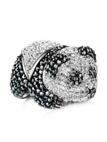 Silver Panda Ring With Black And White Crystals The Jungle, Ring Size: 8 / 18, image