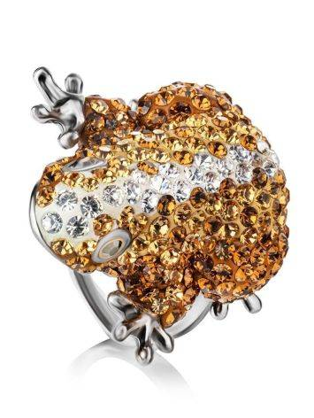 Silver Frog Ring With Champagne Crystals The Jungle, Ring Size: 6 / 16.5, image