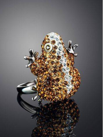 Silver Frog Ring With Champagne Crystals The Jungle, Ring Size: 6 / 16.5, image , picture 2