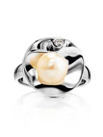 Silver Cocktail Ring With Cultured Pearl And Crystal The Serene, Ring Size: 7 / 17.5, image , picture 3