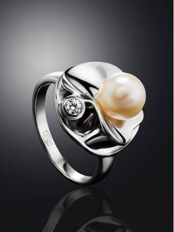 Silver Cocktail Ring With Cultured Pearl And Crystal The Serene, Ring Size: 7 / 17.5, image , picture 2