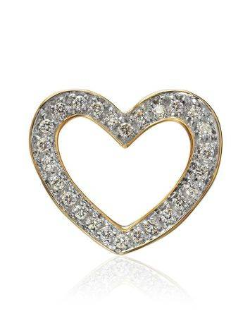 Golden Heart Shaped Pendant With White Diamonds, image