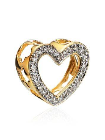 Golden Heart Shaped Pendant With White Diamonds, image , picture 3