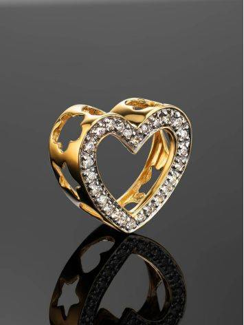 Golden Heart Shaped Pendant With White Diamonds, image , picture 2