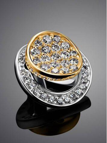 Round Two Tone Gold Pendant With White Diamonds, image , picture 2
