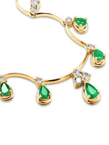 Golden Necklace With Emeralds And Diamonds The Oasis, image , picture 4