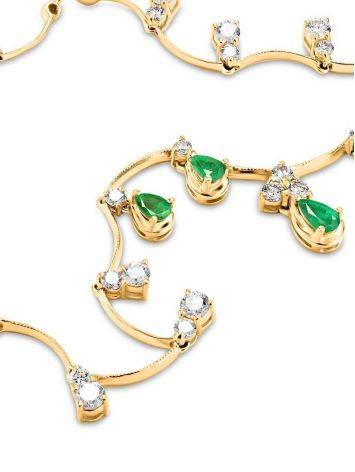 Golden Necklace With Emeralds And Diamonds The Oasis, image , picture 5