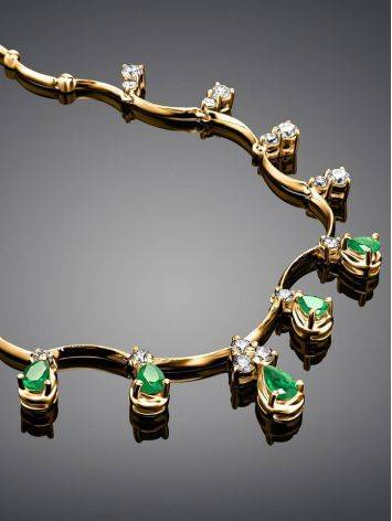 Golden Necklace With Emeralds And Diamonds The Oasis, image , picture 2