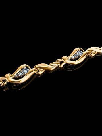 Golden Link Bracelet With Crystals, image , picture 2