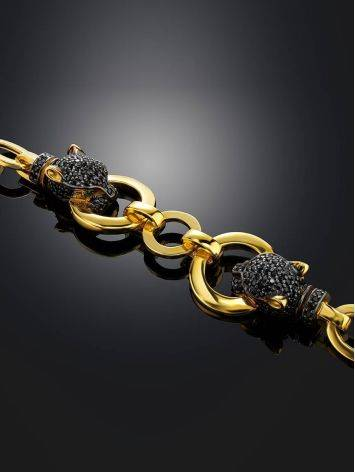 Golden Chain Bracelet With Crystal Encrusted Panthers, image , picture 2