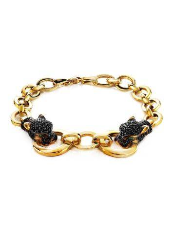 Golden Chain Bracelet With Crystal Encrusted Panthers, image