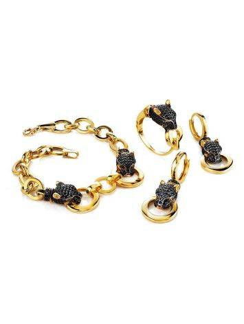 Golden Chain Bracelet With Crystal Encrusted Panthers, image , picture 3