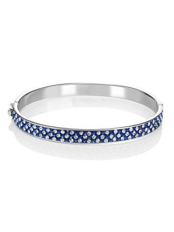 Silver Hinged Clasp Bracelet With Blue And White Crystals The Eclat, image , picture 3