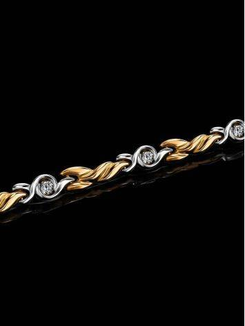 Two Toned Golden Bracelet With Crystals, image , picture 2