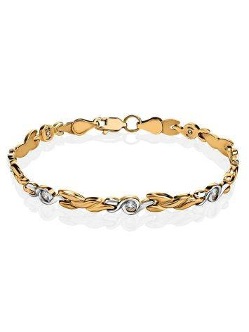 Two Toned Golden Bracelet With Crystals, image