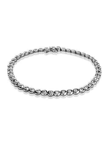 Golden Tennis Bracelet with White Crystals, image
