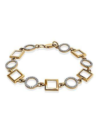 Geometric Golden Link Bracelet With Crystals, image