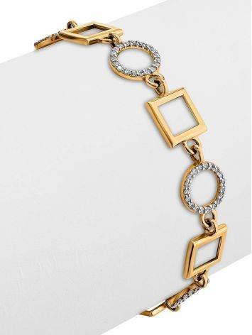Geometric Golden Link Bracelet With Crystals, image , picture 3