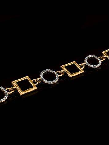 Geometric Golden Link Bracelet With Crystals, image , picture 2
