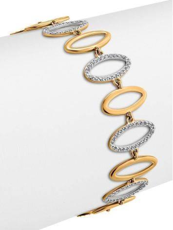 Golden Link Bracelet With Crystals, image , picture 3