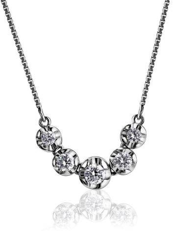 White Gold Chain Necklace With White Diamonds, image