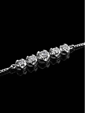 White Gold Chain Necklace With White Diamonds, image , picture 2
