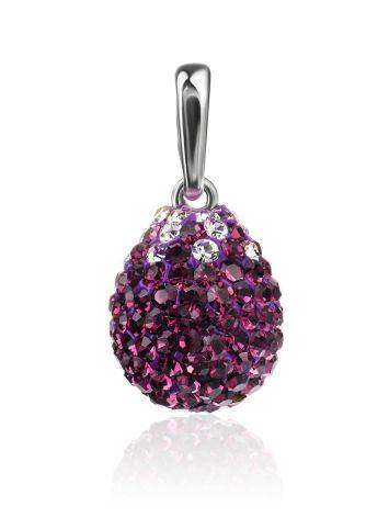 Silver Drop Pendant With Purple Crystals The Eclat, image