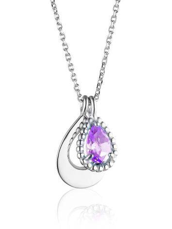 Silver Necklace With Teardrop Amethyst Pendant, image