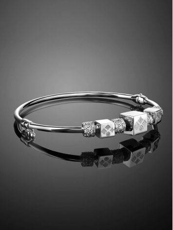White Gold Bangle Bracelet With Crystals, image , picture 2