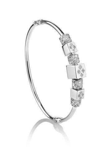 White Gold Bangle Bracelet With Crystals, image