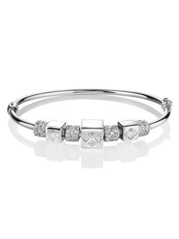 White Gold Bangle Bracelet With Crystals, image , picture 3