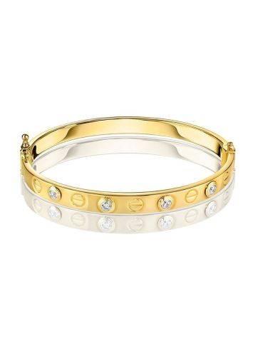 Designer Golden Bangle Bracelet With Crystals, image , picture 3