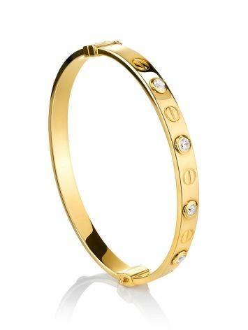 Designer Golden Bangle Bracelet With Crystals, image