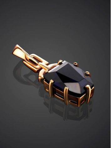 Golden Pendant With Synthetic Sapphire, image , picture 2