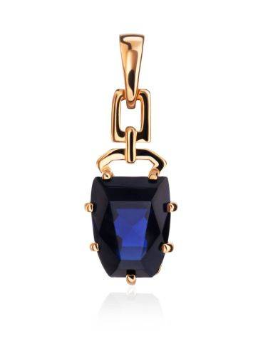 Golden Pendant With Synthetic Sapphire, image