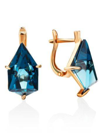 Futuristic Golden Earrings With Synthetic Topaz, image