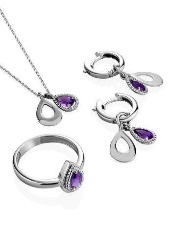 Silver Necklace With Teardrop Amethyst Pendant, image , picture 3