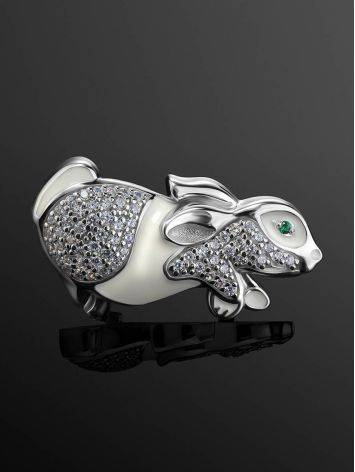 Silver Enamel Rabbit Brooch With Crystals, image , picture 2