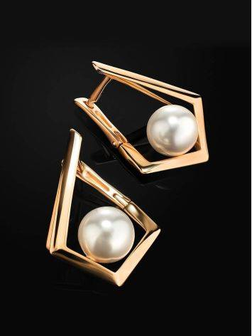 Geometric Golden Earrings With Faux Pearl The Serene, image , picture 2