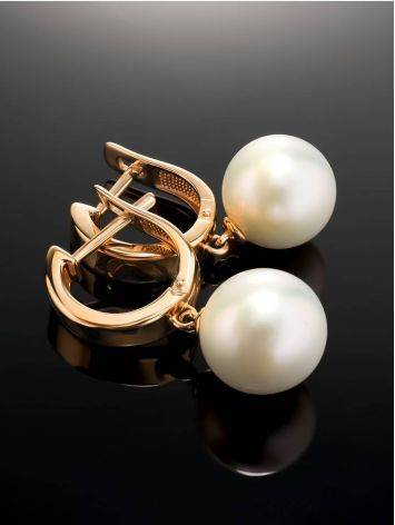 Pearl Drop Earrings In Gold The Serene, image , picture 2