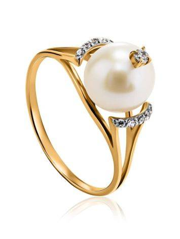 Golden Ring With Pearl And Crystals The Serene, Ring Size: 8.5 / 18.5, image