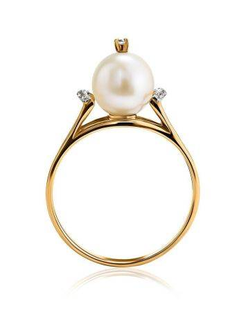 Golden Ring With Pearl And Crystals The Serene, Ring Size: 8.5 / 18.5, image , picture 3