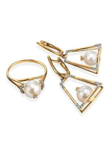 Golden Dangles With Pearl And Crystals The Serene, image , picture 3